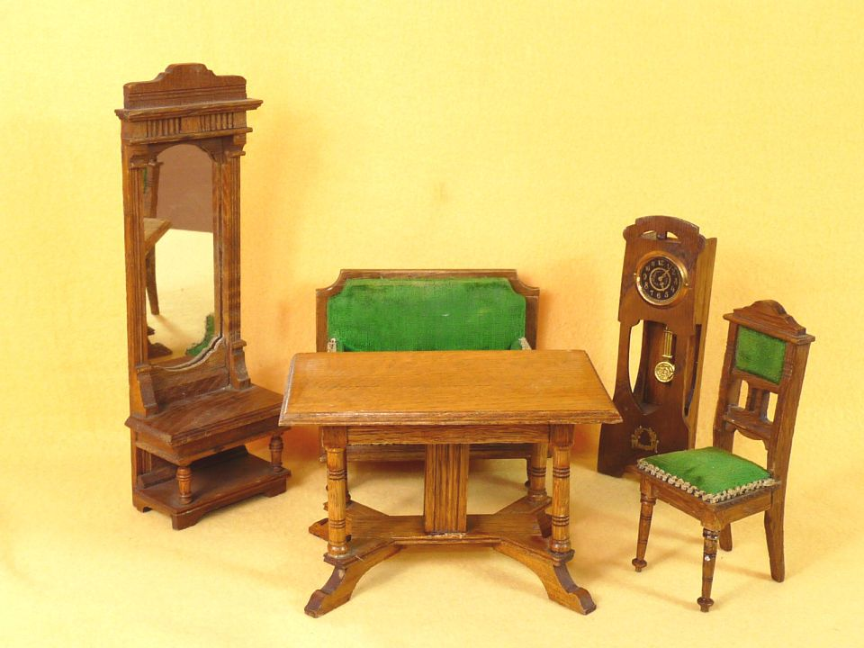 antikes puppen wohnzimmer mbel sofa spiegel uhr jugendstil um 1910 alt in antiquitten kunst - Jugendstil Wohnzimmer