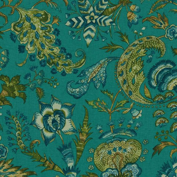 Teal Linen Upholstery Fabric by the Yard Dark Teal and Peacock