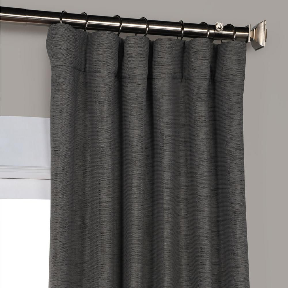 Exclusive Fabrics Furnishings Armour Grey Gray Bellino Blackout Curtain 50 In W X 96 In L Boch Pl1804 96 The Home Depot In 2020 Room Darkening Curtains Curtains Furnishings