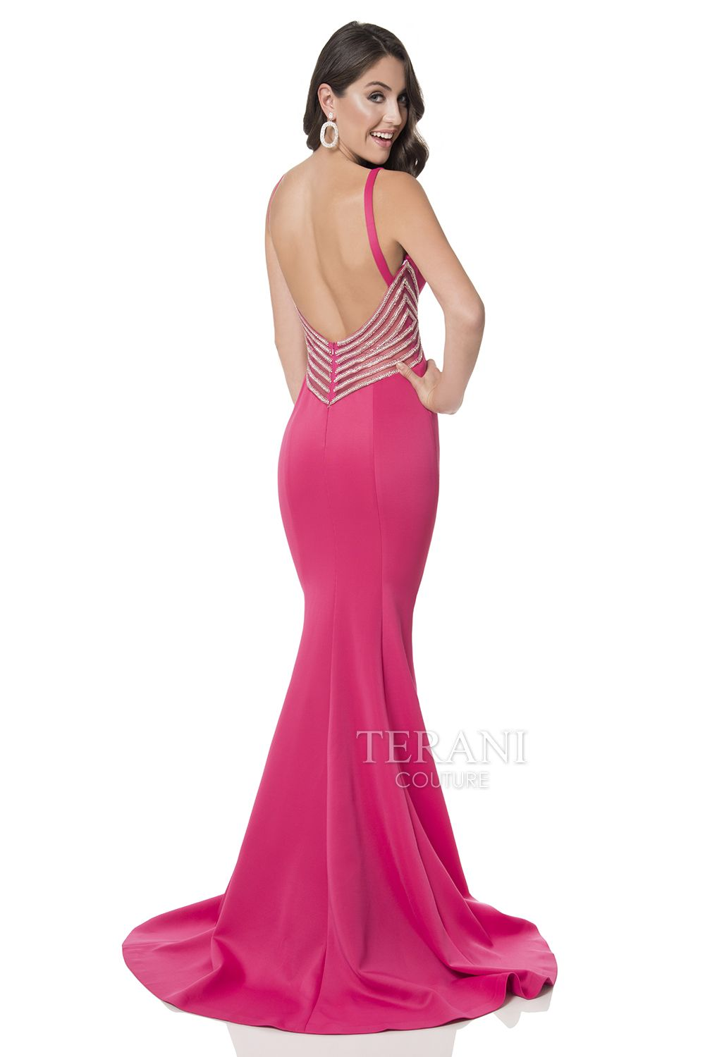 Neoprene trumpet prom gown with plunging v neckline and crystal ...