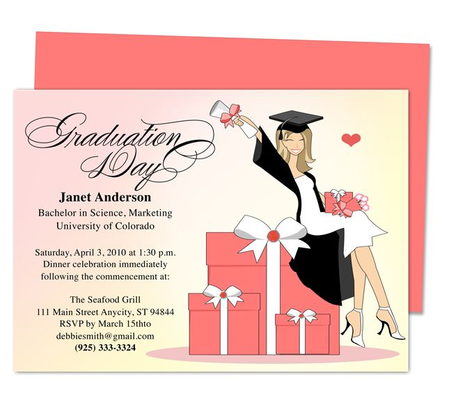 Super Cute Luxury Graduation Party Announcement Or Party Invitations  Templates. Printable, DIY Template Editable With Word, Publisher, Apple  IWork Pages, ...