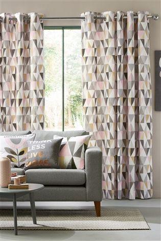 Buy Blush Tri Geo Print Eyelet Curtains From The Next Uk