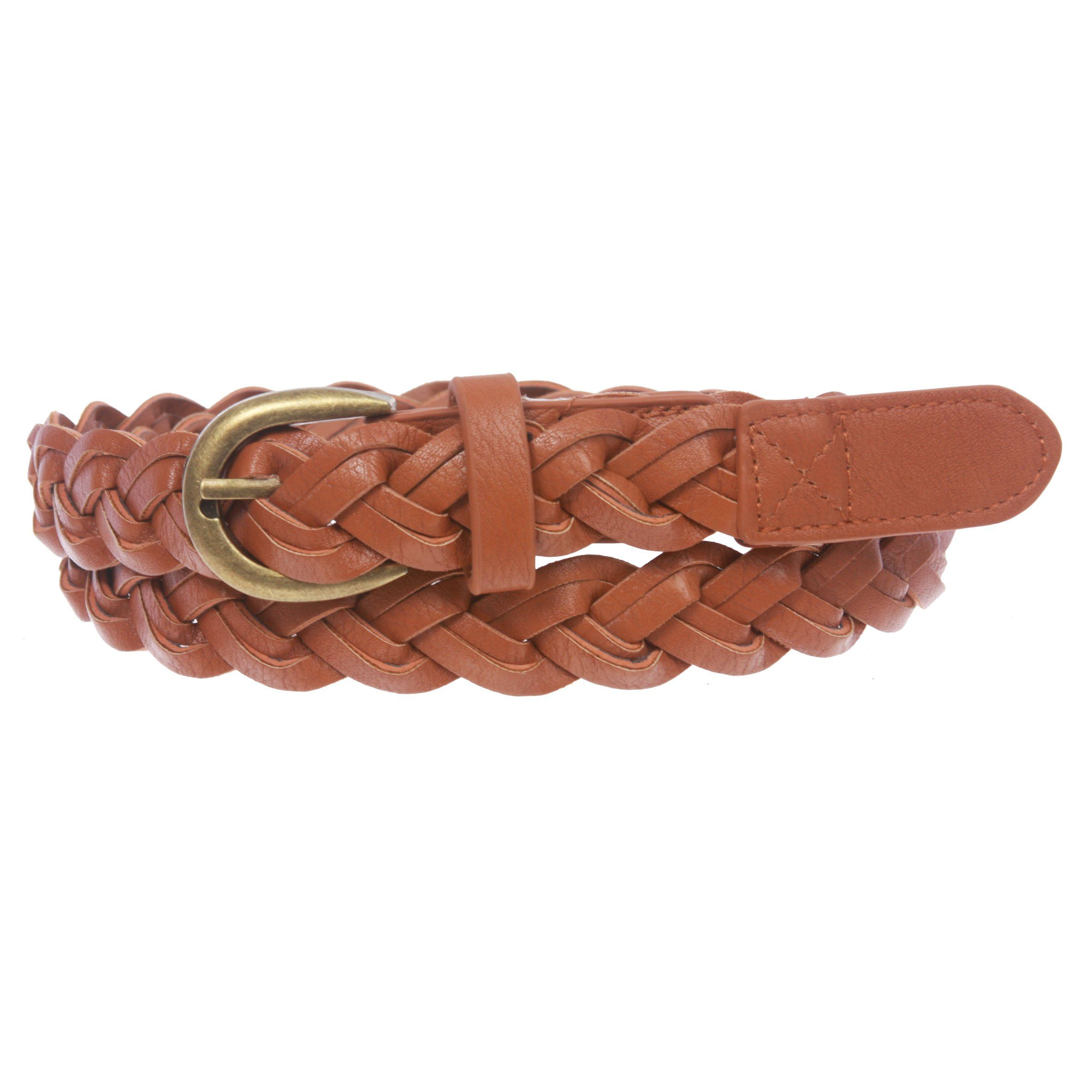 """Women's 1"""" Skinny Braided Woven Non Leather Belt"""