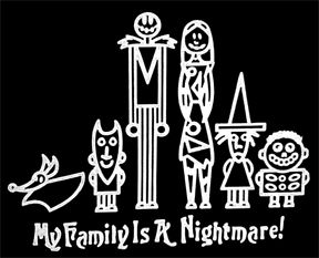 Jack Nightmare Before Christmas Stick Family Window Decal Car Co ...