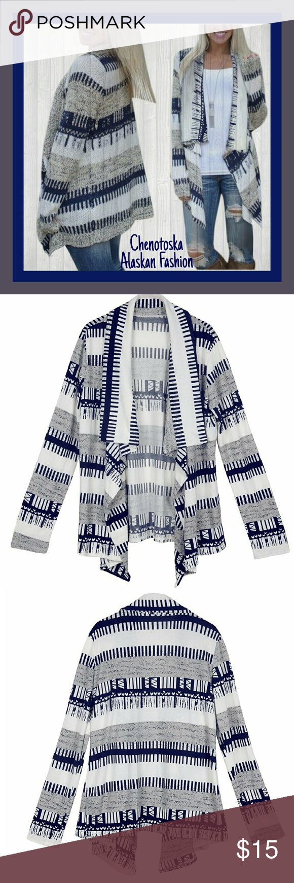 """🌟LIMITED TIME🌟Geometric Print Cloak Cardigan Extremely soft, comfortable, stretchable.  T shirt material  Material- Cotton Blend   SIZE CHART   Small (0-6)  Chest/Bust 32-35""""  Waist 24-27""""  Hips  34.5-37.5"""" Tops"""