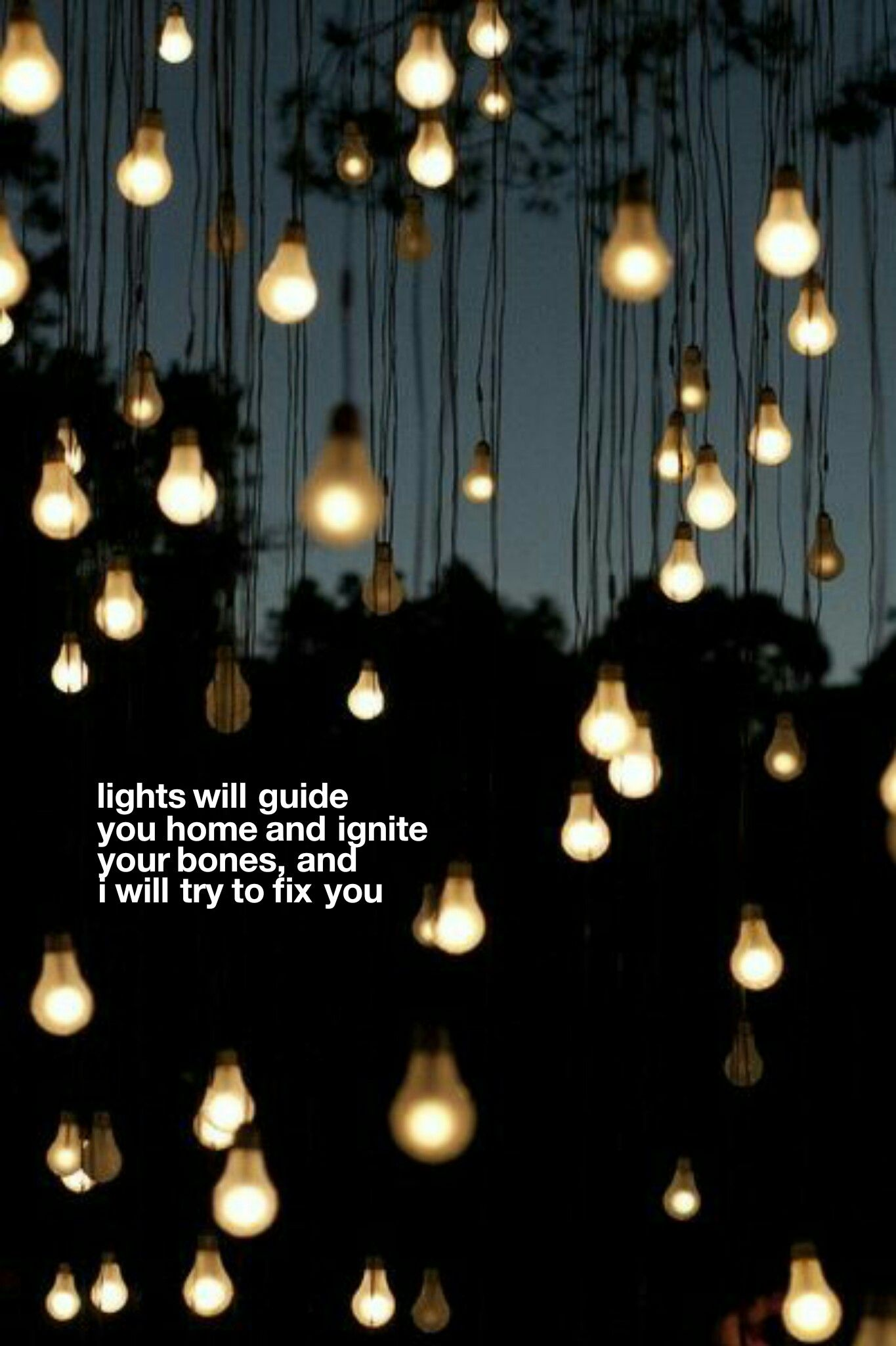 Lyric Wallpaper Coldplay Fix You Light Art Installation