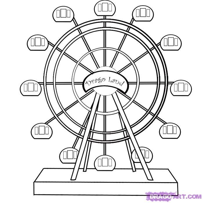 ferris wheel coloring pages how to draw a ferris wheel step by step - How To Draw Coloring Pages