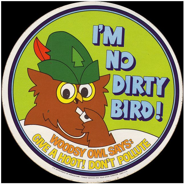 Woodsy owl sticker 1974 no dirty bird