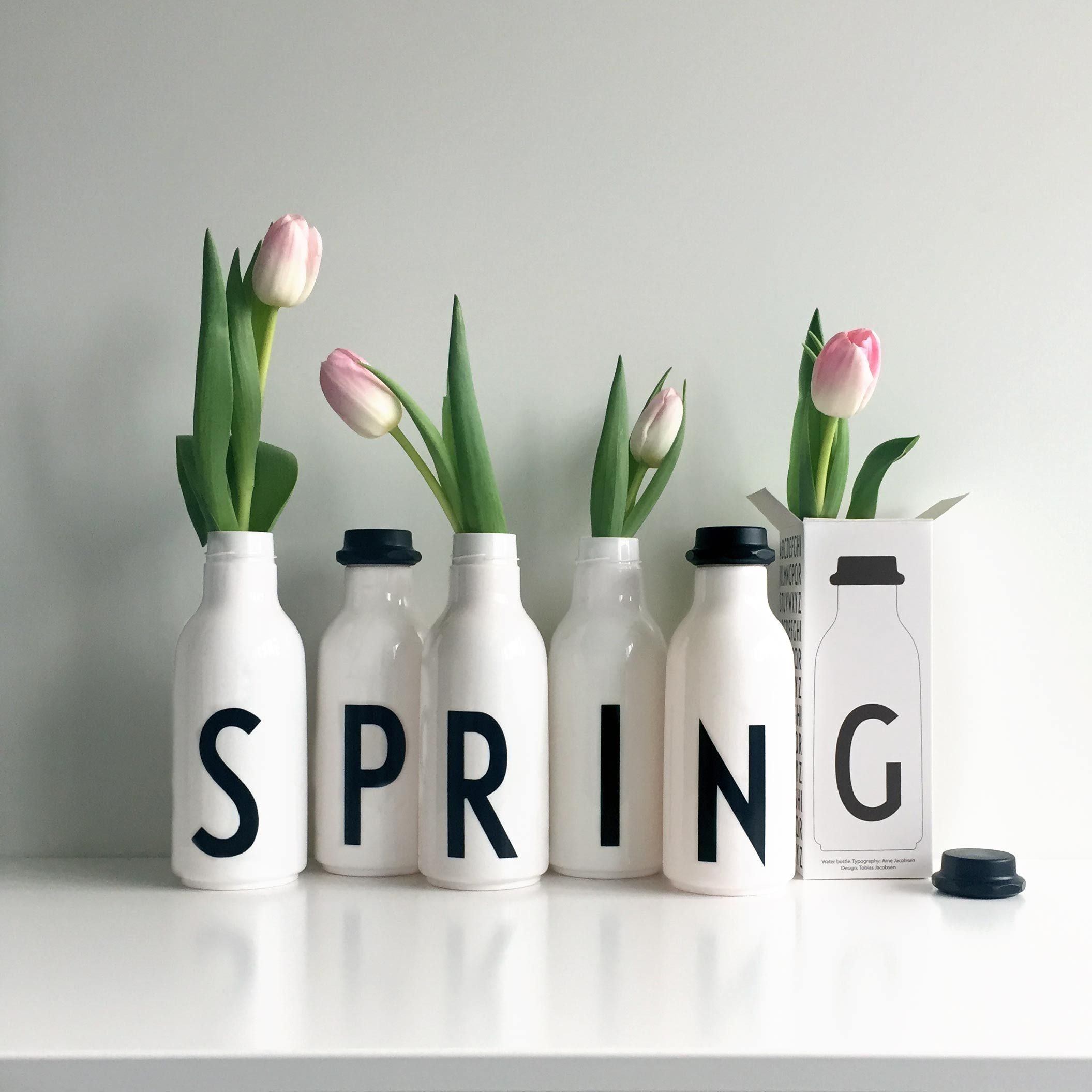 water bottles, Design Letters, spring