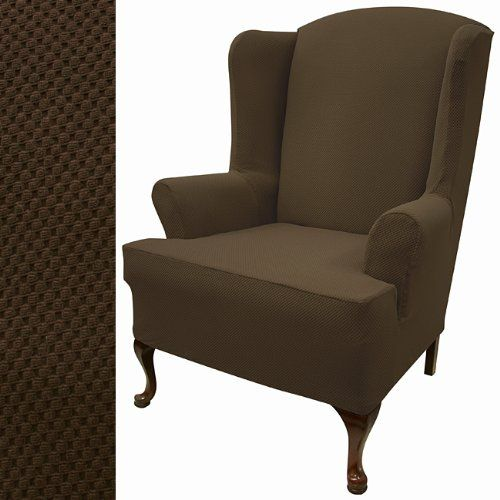 Super Stretch Pique Dutch Chocolate Wing Chair Slipcover 711 Gmtry Best Dining Table And Chair Ideas Images Gmtryco