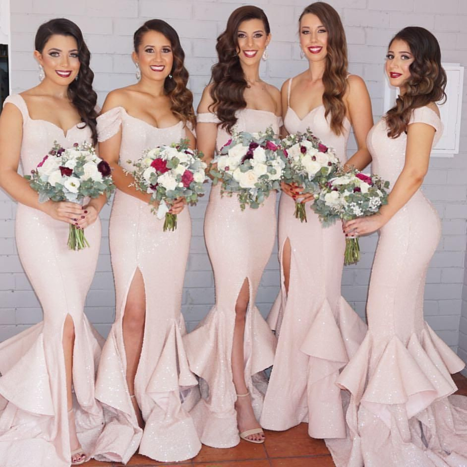 2016 hot sale pink sequined mermaid bridesmaid dresses off 2016 hot sale pink sequined mermaid bridesmaid dresses off shoulder ruffles front split backless wedding guest ombrellifo Gallery