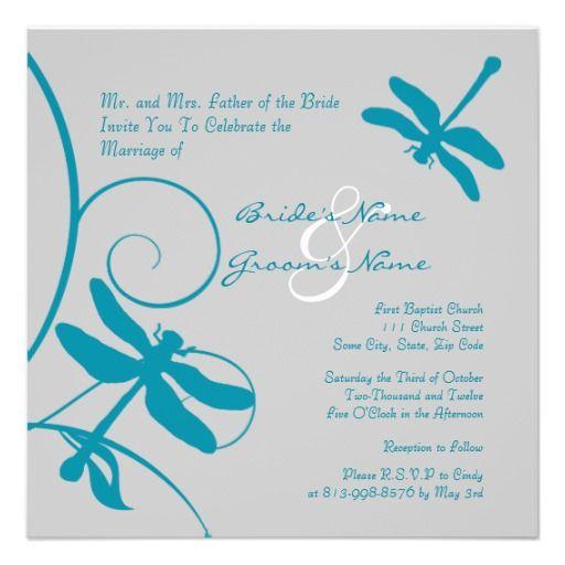 Silver and Aqua Blue Dragonfly Wedding Invitation