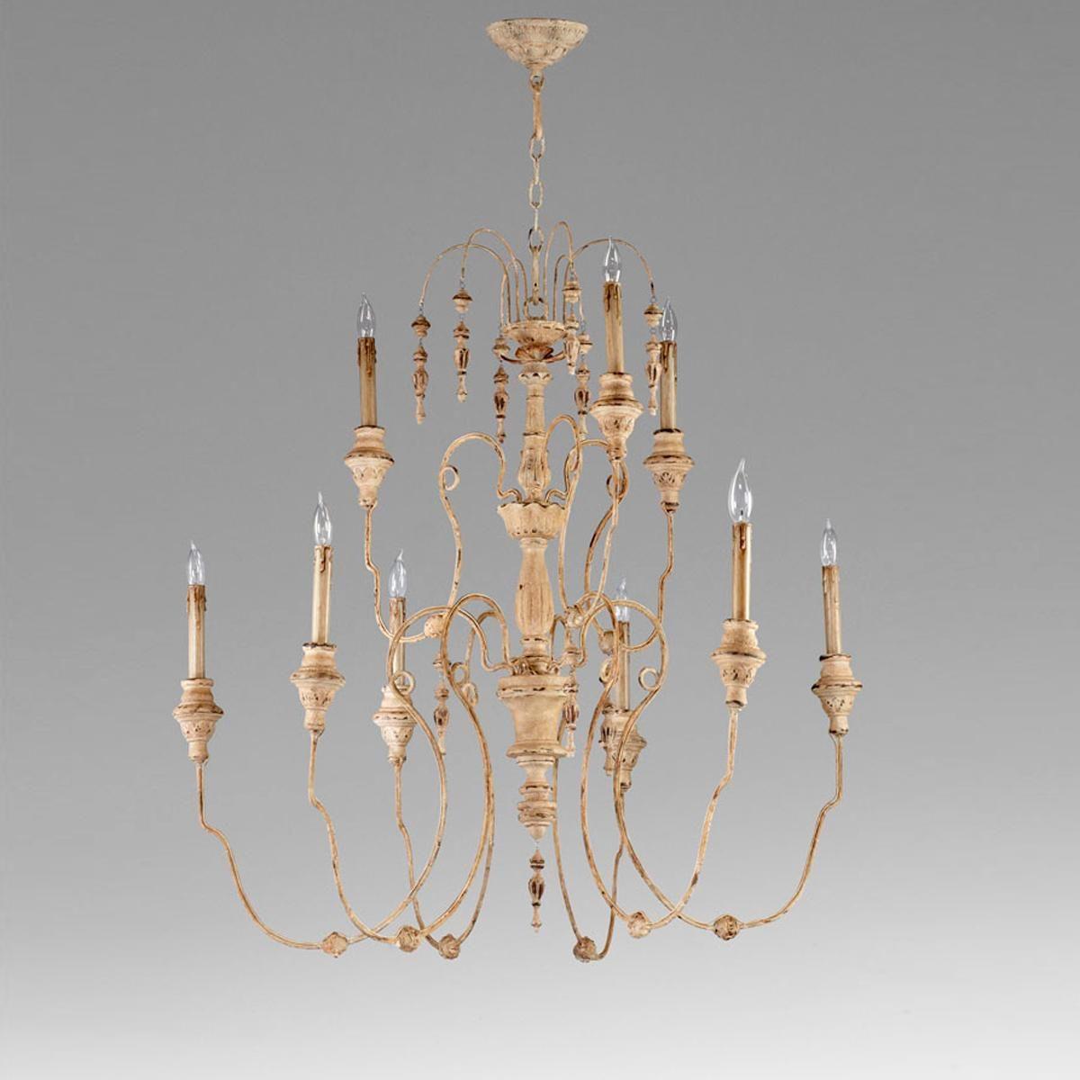 Italian Antique Reproduction Tassel Chandelier 9 lights, two tiers,  (37.5