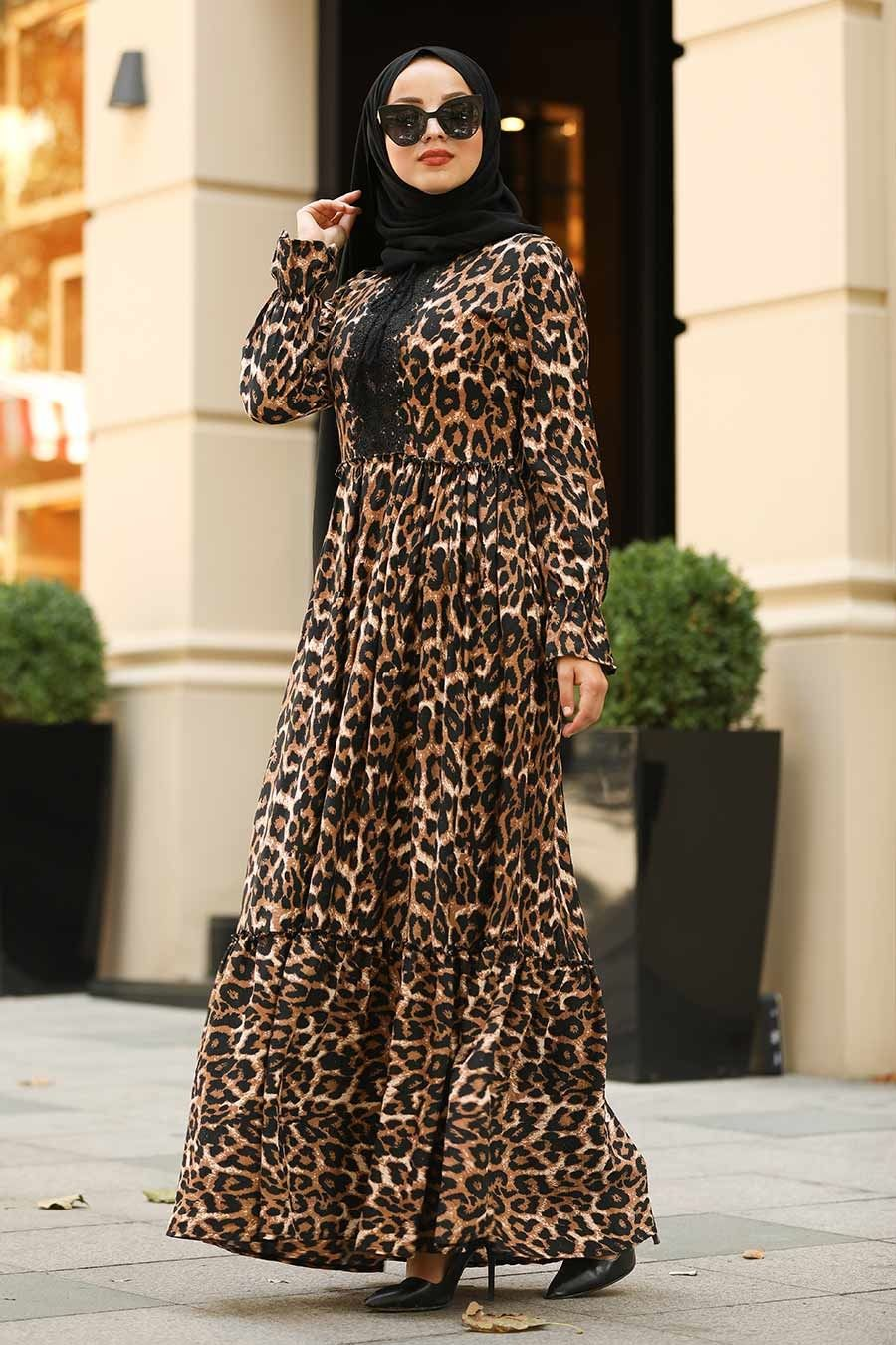 Neva Style Leopar Desenli Tesettur Elbise 3998lp Tesetturisland Com 2020 Elbise Moda Stilleri The Dress