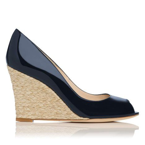 Estela Patent Leather Peep Toe Wedge Colour Navy by L.K.Bennett