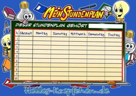 Eine Stundenplanvorlage die ideal für Grundschüler geeignet ist.