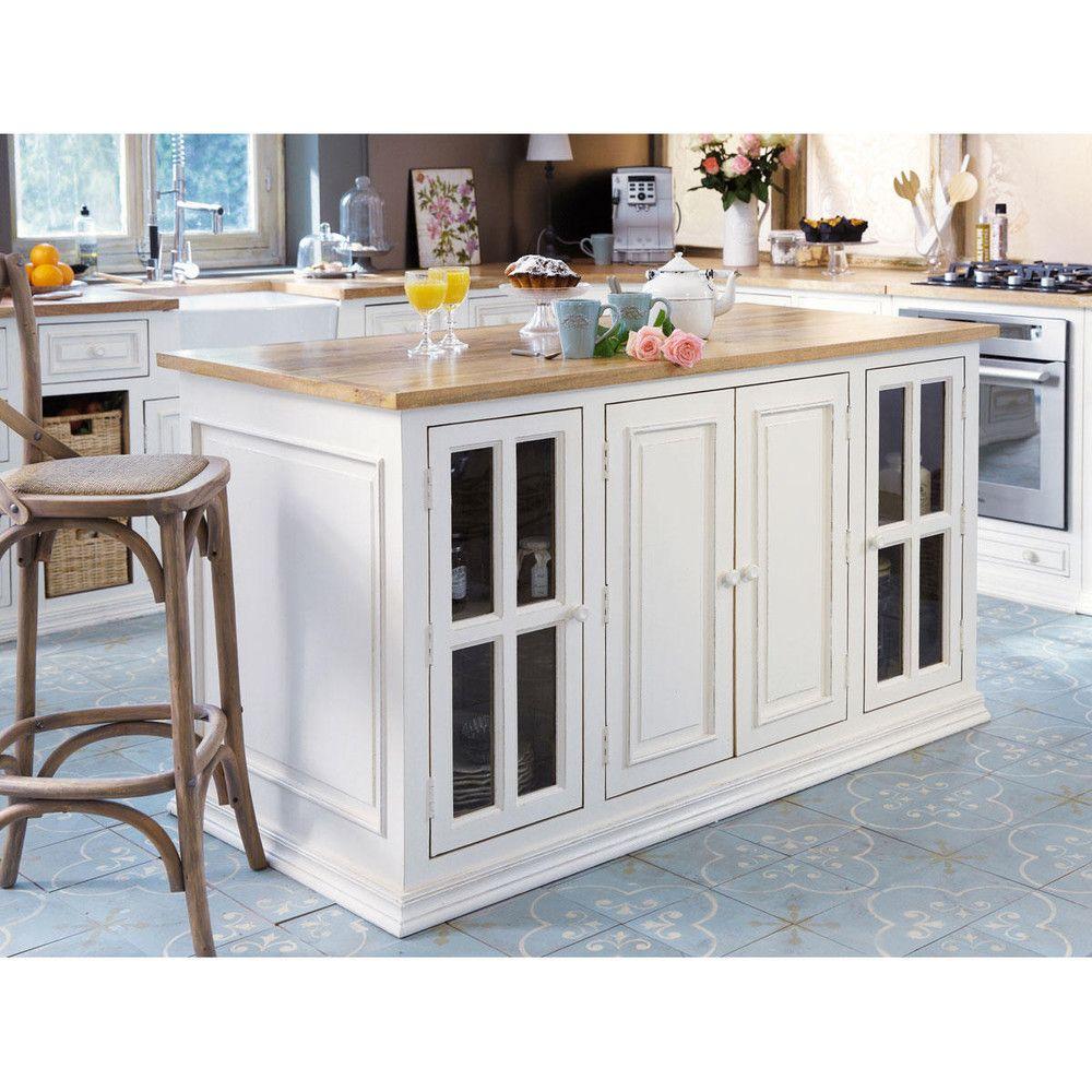 Kücheninsel aus Mangoholz, B 160 cm, elfenbein | Ideen Atelier ...
