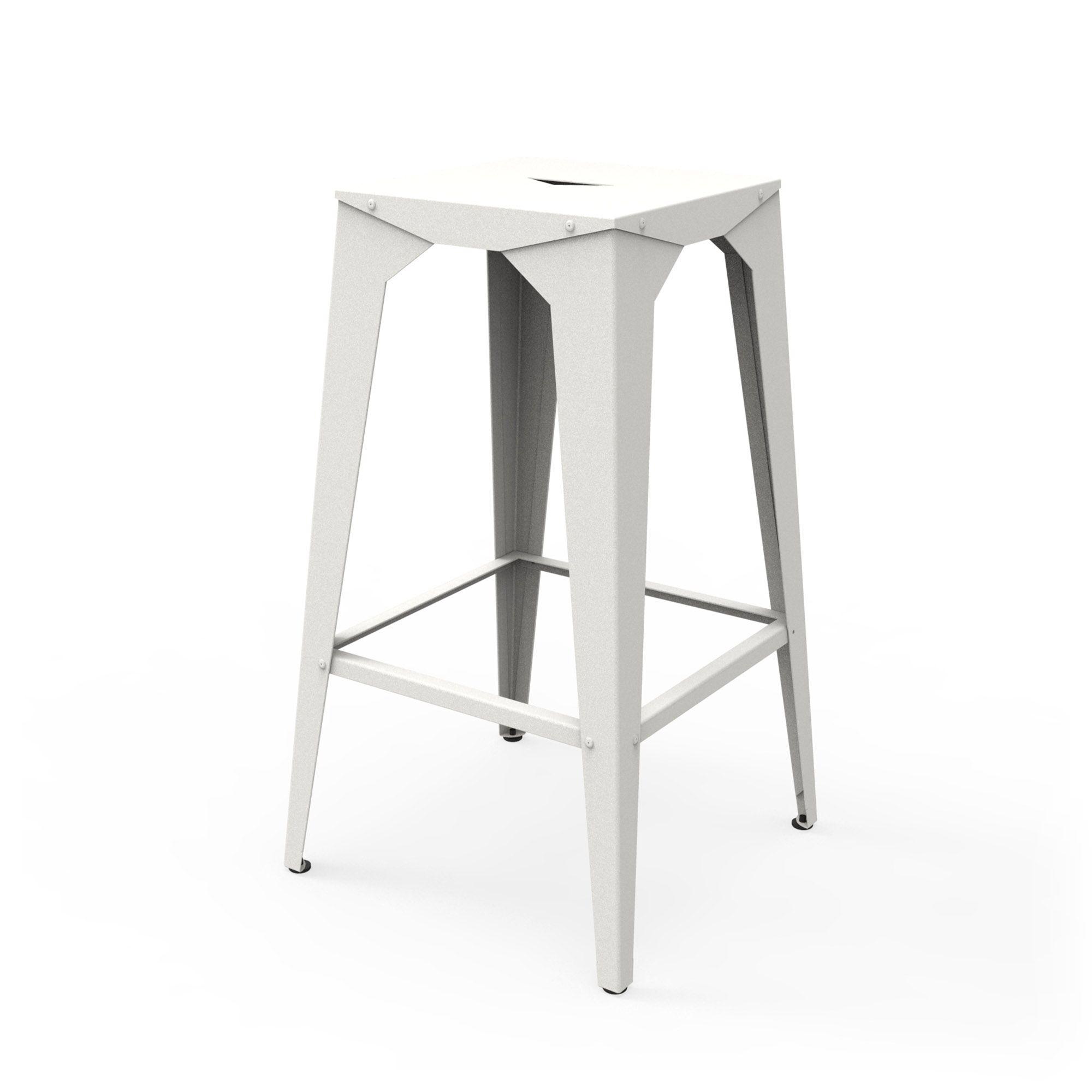 tabouret haut blanc, en métal, utilisable en extérieur et intérieur