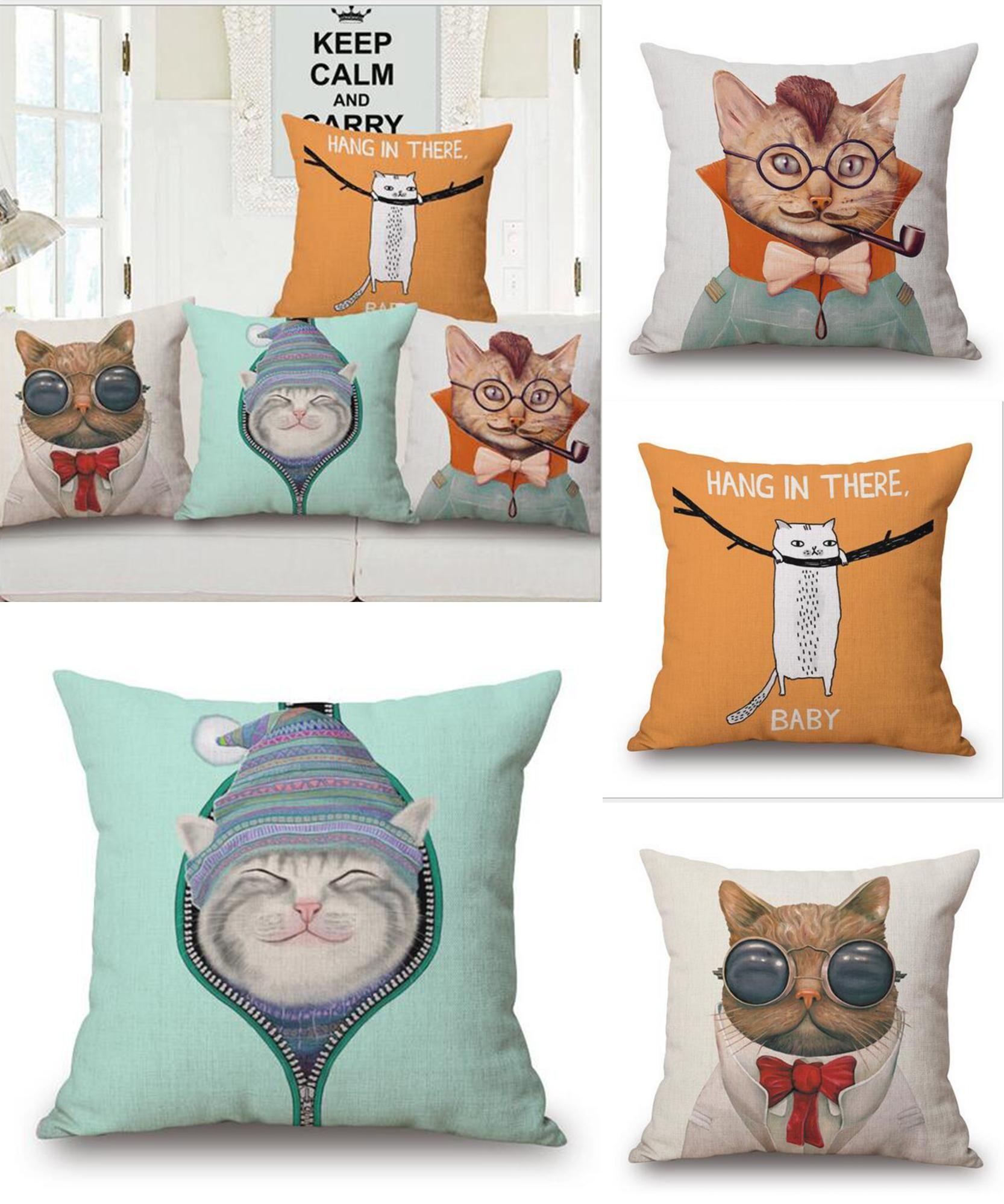 Visit to Buy] Cute Pillow Cats Cushion Throw Pillow Cartoon ...