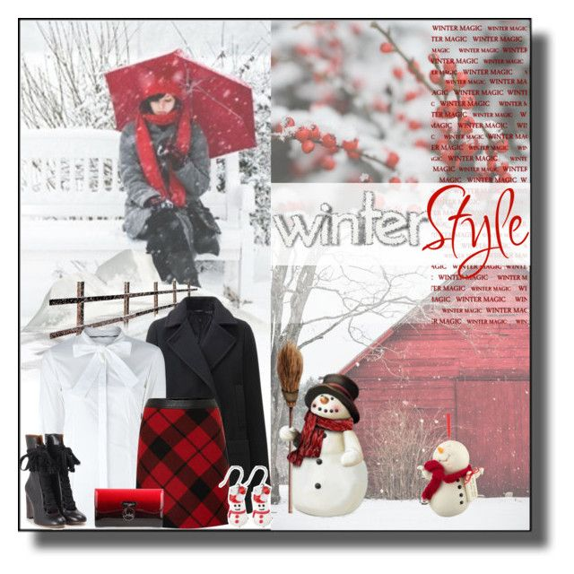 """Red and White Winter Style"" by rainbowroad96 ❤ liked on Polyvore featuring WALL, Department 56, Uniqlo, Burberry, Oui, Dolci Gioie, Chloé and Christian Louboutin"