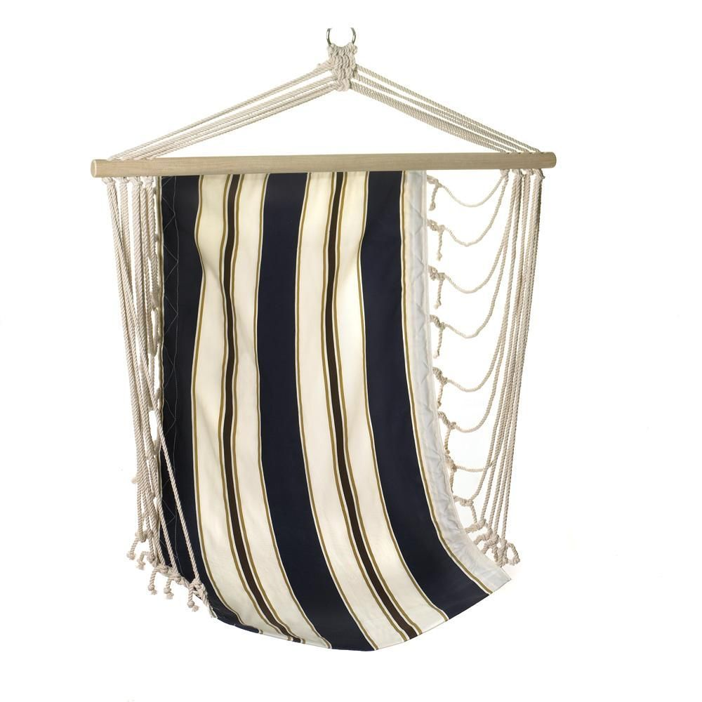 Portable hammock cotton navy blue striped kids hanging chair for