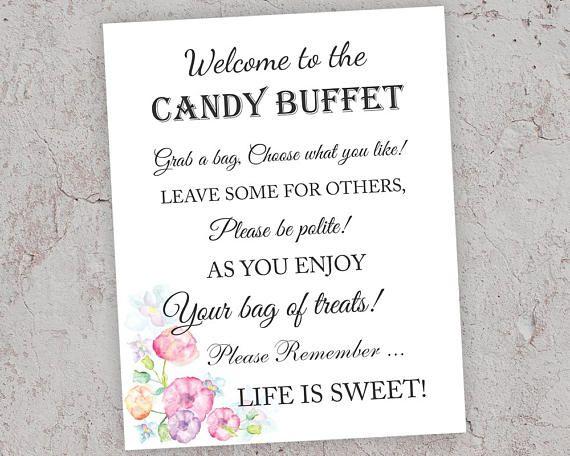 Candy Buffet Sign, Printable Wedding Decor, Candy Bar Sign ...