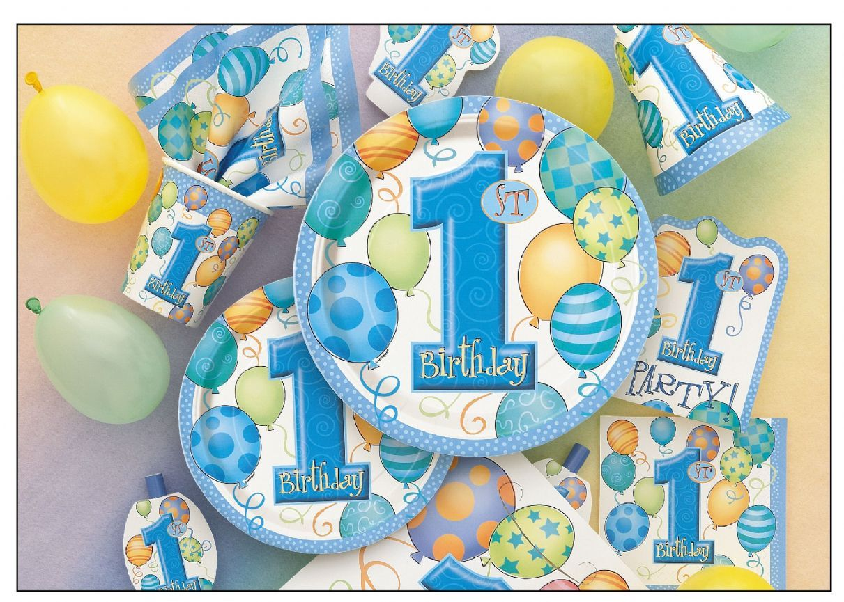 Boys 1st Birthday Party Tableware Decorations First No 1 Party