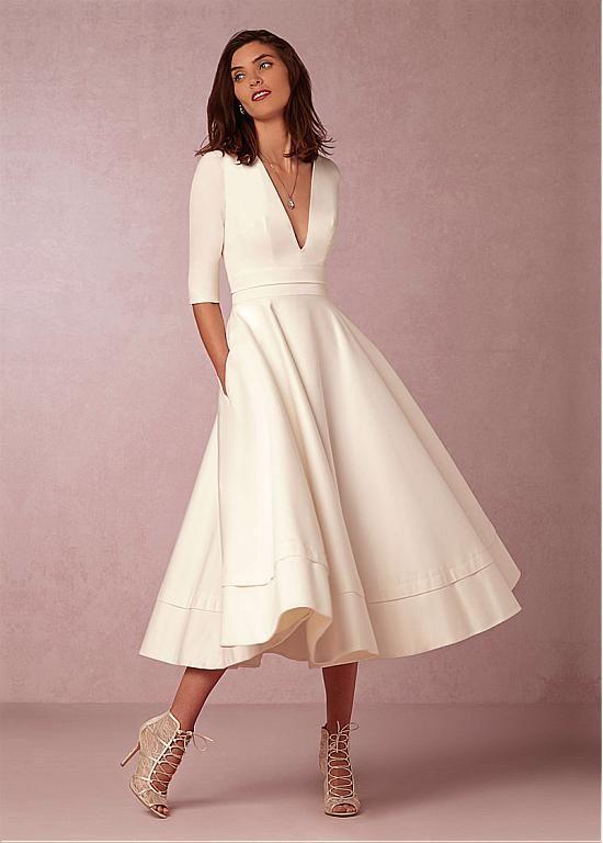 Wedding Dresses Ball Gown, Fabulous Taffeta & Satin V-neck Neckline A-line Wedding Dresses DressilyMe