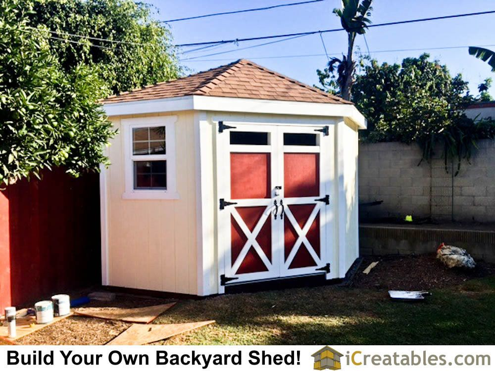 10x10 Hip Roof Corner Backyard Shed Plans By Icreatables Com Shed Plans Backyard Shed 10x10 Shed Plans