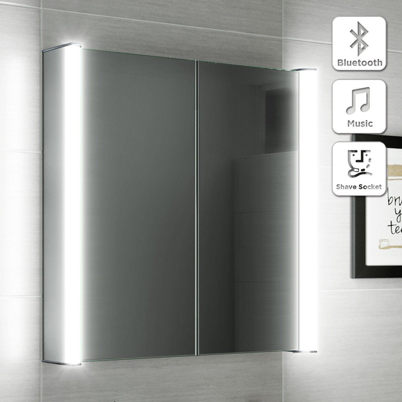 600 x 650 illuminated led bathroom mirror cabinet + shaver socket