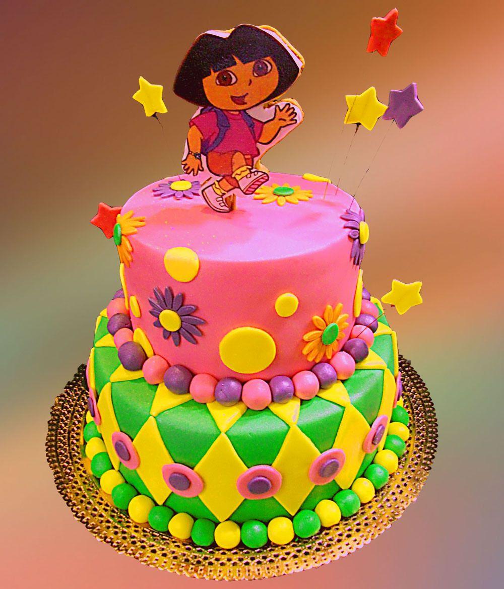 Colorful Two Tier Dora Birthday Cake Cakes Pinterest Dora