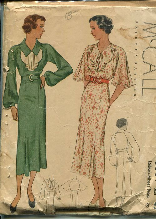 Sewing pattern from the 1930s -- (McCall pattern #8601) | vintage ...