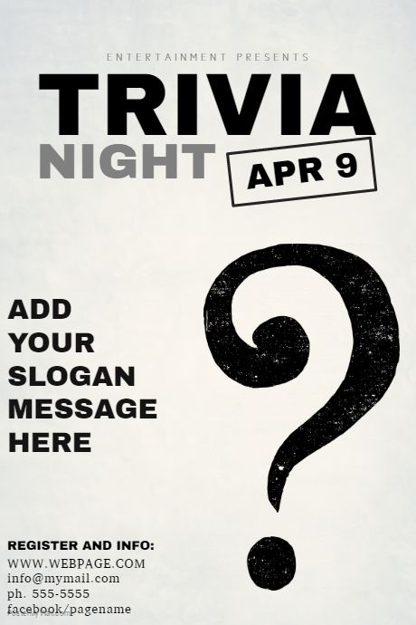 Copy Of Black And White Trivia Night Flyer Template PosterMyWall
