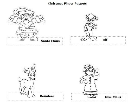 color cut and tell a story with these christmas finger puppets holidays super teacher. Black Bedroom Furniture Sets. Home Design Ideas