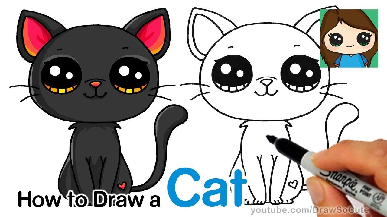 How To Draw A Black Cat Easy Youtube Kitten Drawing Cartoon Cat Drawing Cute Drawings