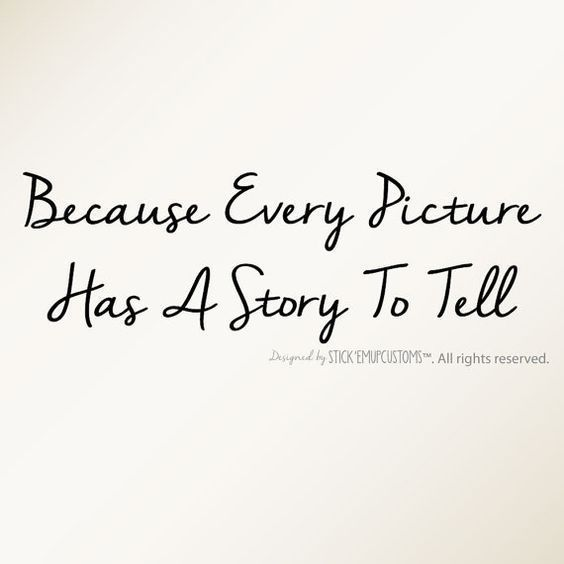Because Every Picture Has A Story To Tell - Wall Decal Quote Home Decor Picture Frame Wall Collage Accent In these Moments Staircase decor #wallcollage