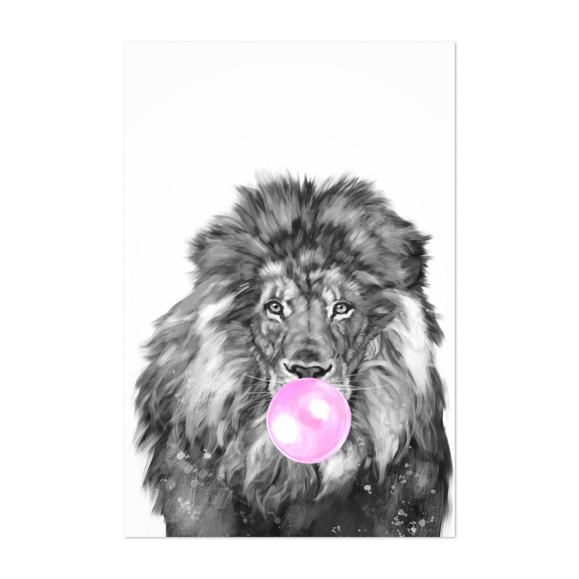 Noir Gallery Cute Pink Lion Peekaboo Animal Unframed Art