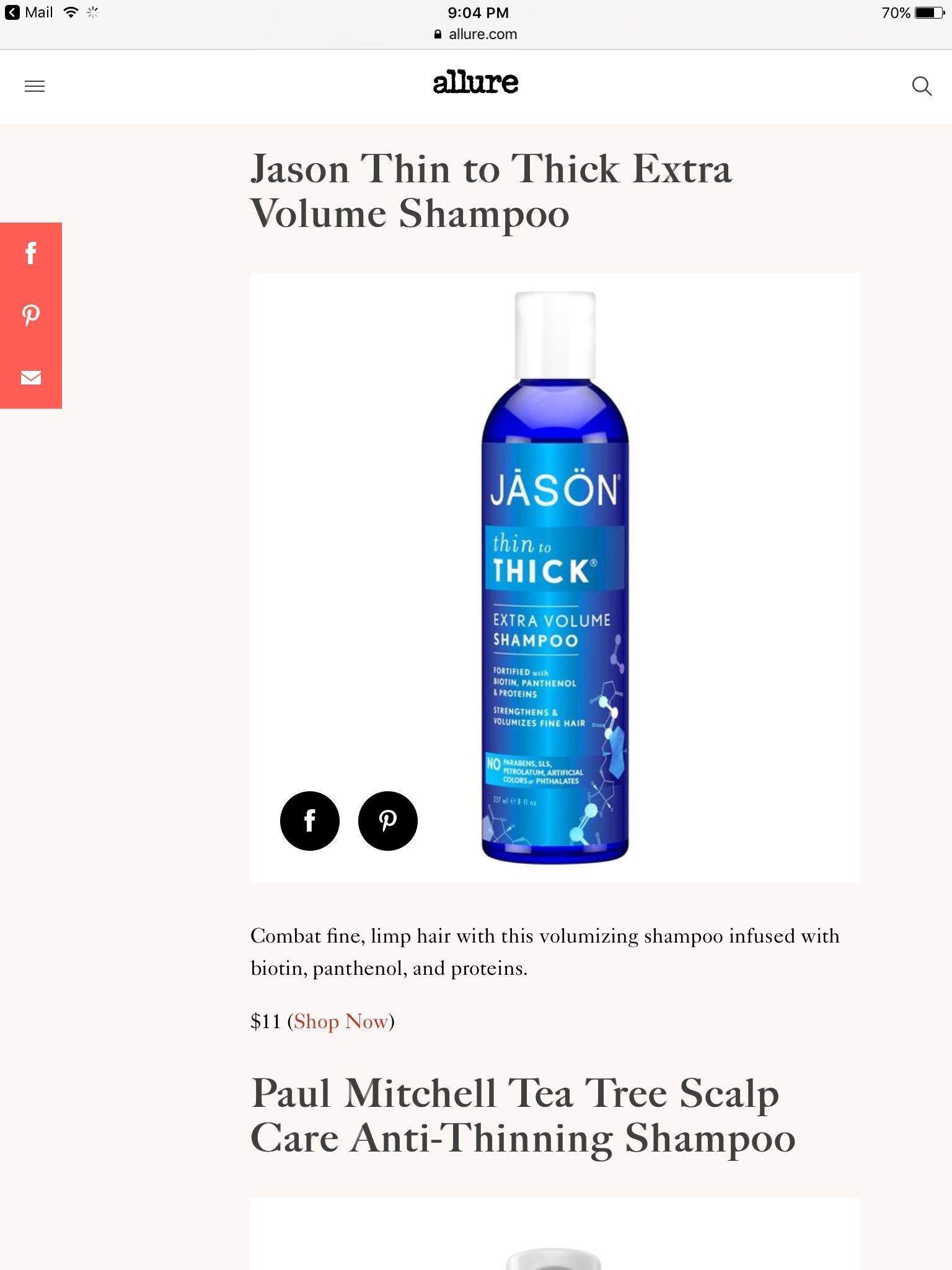 Jason Thin to thick Full volume shampoo Tea tree, Too