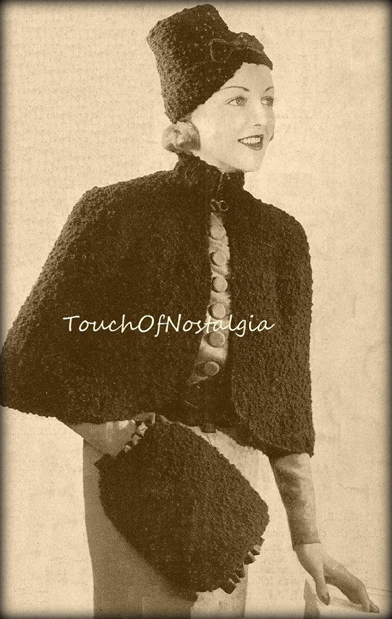 CAPE / Hat / MUFF Vintage Knitting Pattern by touchofnostalgia7 ...