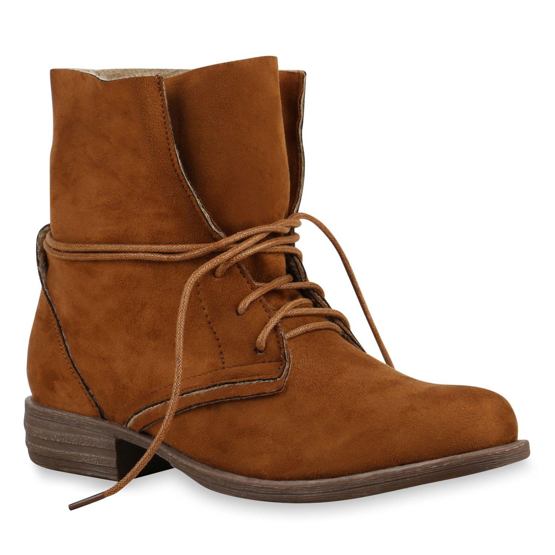 Damen Stiefeletten Schn rstiefel Worker Boots Velours 813498 Schuhe