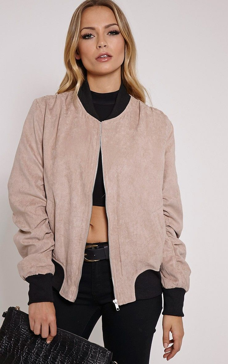Poppie blush suede bomber jacket