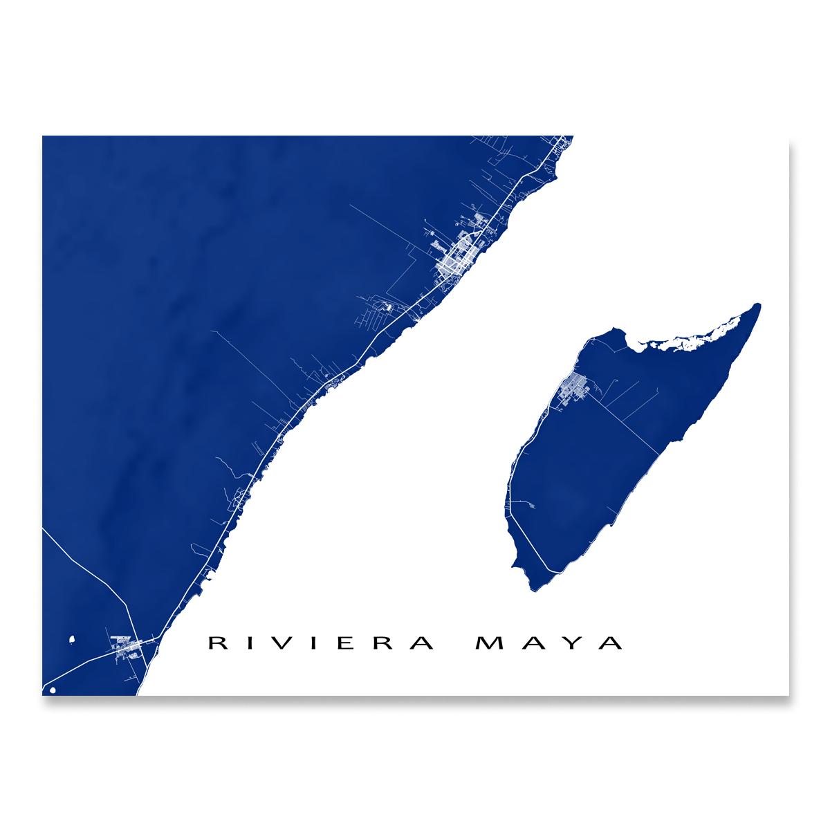 Riviera Maya Map Print Mexico Colors Map Print Map Art Print Riviera Maya