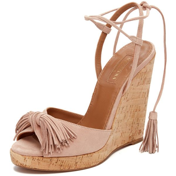 Aquazzura Wild One Wedge Espadrilles (2.145 BRL) ❤ liked on Polyvore featuring shoes, sandals, vintage pink, leather platform sandals, leather wedge sandals, platform wedge sandals, platform sandals and wedge sandals