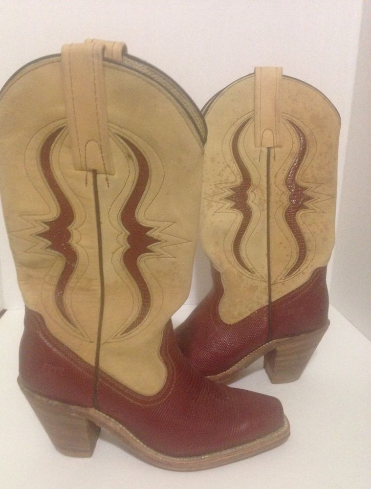 8743f185645 Vintage Frye Western Two Tone Cowboy Boots Size 5 | Shopping