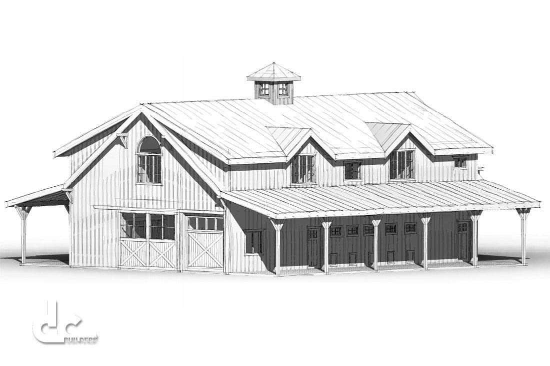 This 36\' x 60\' barn with living quarters was designed for a client ...