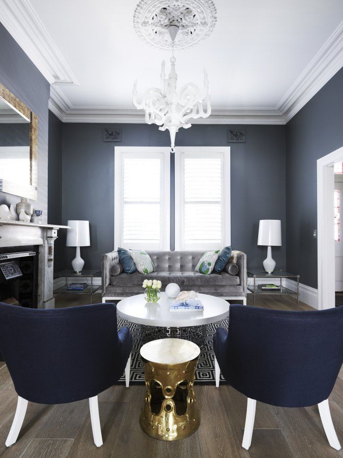 Navy Blue And Grey Living Room Decor Cabinets Clarke Payne House Home Gold Accents