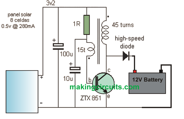 the post explains how to build a simple 12v solar charger circuit with  boost converter capable of charging 12v battery from a 3v solar panel  a  sola