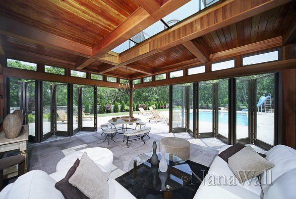 Pool house with NanaWall folding glass doors for a wide opening. & Pool house with NanaWall folding glass doors for a wide opening ... Pezcame.Com