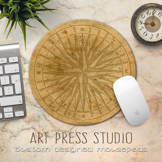 Compass Mouse Pad, Vintage Compass Print Mousepad, Steampunk Compass Mouse Pad, Old World Compass, Travel Mousepad