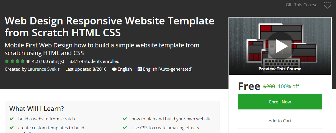 Udemy Coupon Free – Web Design Responsive Website Template from ...